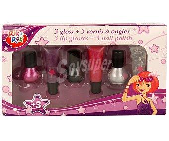 Rik&Rok Auchan Conjunto de belleza de 3 brillos de labios, gloss, y 3 esmaltes de uñas 1 unidad