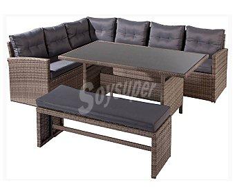 Garden Star Conjunto de sofá esquinero, banco y mesa de jardín o terraza star