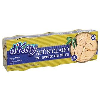 DKAY Atun claro en aceite de oliva Pack 3 latas 144 gr