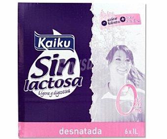 Kaiku Leche desnatada sin lactosa 6 Unidades de 1 Litro