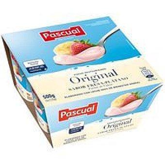 Pascual Yogur con sabor a fresa y plátano 4 unidades de 125 gramos