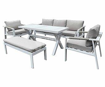 KACTUS REPUBLIC Monza Conjunto de jardín formado por sofá, sillones, mesa y banco, Republic.