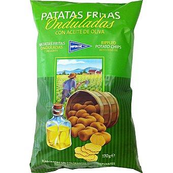 HIPERCOR patatas fritas onduladas con aceite de oliva  bolsa 170 g