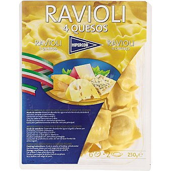 Hipercor tortellini frescos a los 4 quesos bandeja 250 g