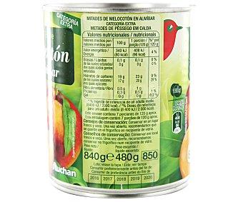 Auchan Mitades de melocotón en almíbar 480 gramos