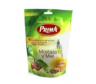 Prima Salsa para ensalada sin gluten mostaza y miel Pack de 4x30 ml