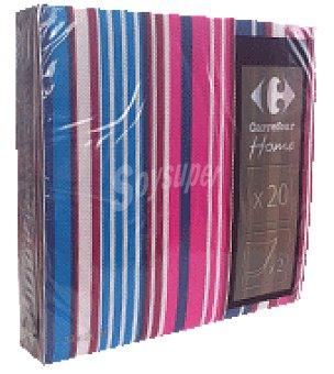 Carrefour 20 servilletas 33X33 cm 2 capas multiraya azul carrefour