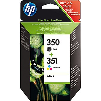 HP Nº 350 + 351 cartuchos: color negro y tricolor Pack de 2