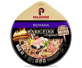 Palacios Pizza de masa fina y crujiente con jamón cocido, queso mozzarella, champiñon y aceitunas negras 370 gramos