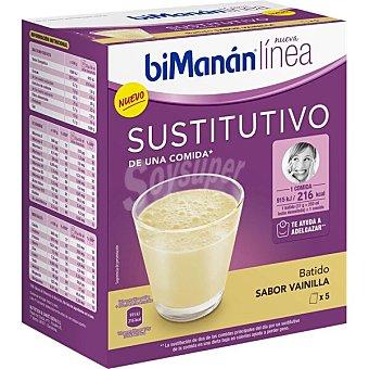 Bimanan Línea batidos sustitutivos de una comida sabor vainilla 5 unidades estuche 150 g estuche 150 g