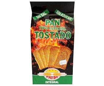 Paybo Pan Tostado Integral sin Sal, sin Azúcar 250 Gramos