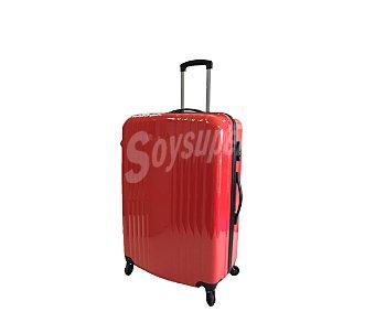 Maleta Maleta de 4 ruedas, cuerpo de ABS, rígida, con diseño de rayas verticales y de color rojo brillante, medida: 50 centímetros 50cm