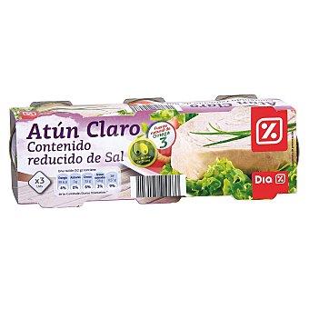 DIA Atun claro en aceite de oliva contenido bajo en sal Pack 3 latas 156gr