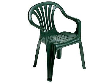 Plasmir Silla fija aplilable para jardín. Fabricada en resina monobloc de color verde, con respaldo bajo y asiento con altura de 42 centímetros 1 unidad