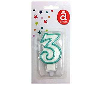 Actuel Vela de cumpleaños nº 3 blanca con contorno azul, actuel.