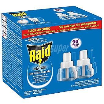 Raid Insecticida volador eléctrico antimosquitos comunes y tigre acción rápida y constante recambio 2 unidades