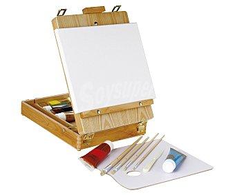 PRODUCTO ECONÓMICO ALCAMPO Caja caballete de madera con 12 accesorios de pintura: Pinturas, lienzo y pinceles 1 Unidad