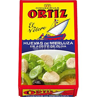 ORTIZ EL VELERO Huevas de merluza en aceite de oliva lata 80 g neto escurrido