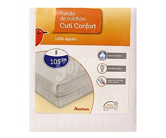 Auchan Funda para colchón de 105 cm, tejido cutí raso 100% algodón 1 unidad