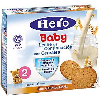 Hero Baby Leche de continuación con cereales con galletas María estuche 500 ml Pack 2x250 ml