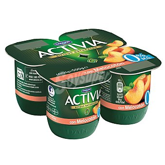 DANONE ACTIVIA Yogur desnatado con melocoton 0% materia grasa pack 4 unidades 125 g