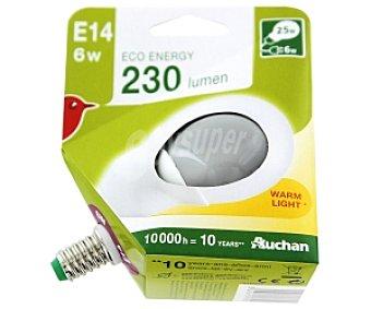 Auchan Bombilla esférica bajo consumo, luz cálida E14 6W 1 Unidad