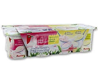 Auchan Yogures de fresa (4u) y limón (4u) Pack de 8 unidades de 125 gramos