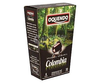 Oquendo Café molido de tueste natural de Colombia en monodosis 10 unidades de 50 gramos