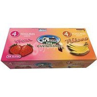 Cantarranas Yogur de fresa-plátano Pack 8x125 g