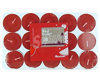 AUCHAN Velas calientaplatos o tealights perfumadas con olor a frutos rojos Pack de 30 Unidades