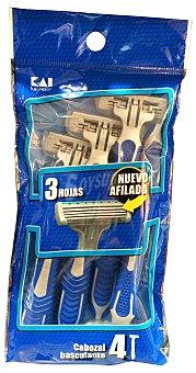 KAI Maquinilla afeitar desechable 3 hojas basculante PAQUETE 4 u