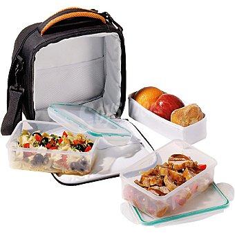 Casactual Bolsa para transporte de alimentos en poliéster color negro y naranja