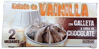 Hacendado Helado de vainilla con galleta y salsa de chocolate Caja 2 u