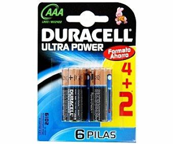 DURACELL Ultra Power Pilas alcalinas LR03 AAA 1,5V Pack de 6 Unidades
