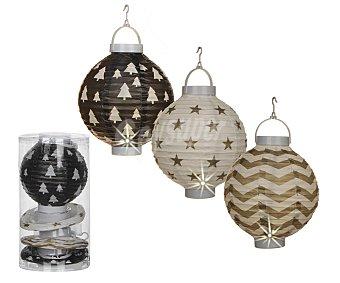 Edelman Set de 4 colgantes con formas de lámparas chinas de papel de 17x15 centímetros y con 1 led en su interior )