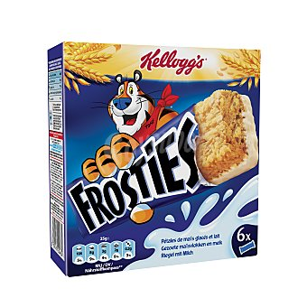 Frosties Kellogg's Barritas de maíz tostado y leche Caja 6 x 25 g