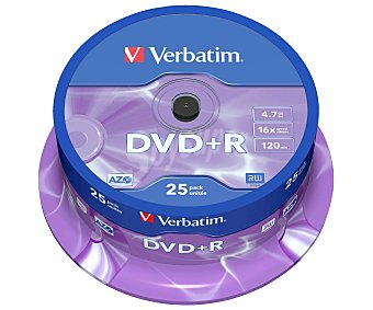 Verbatim Tarrina de 25 dvd+r 4,7GN 16x verbatim dvd-r 4,7GB 16x