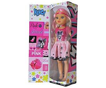 NANCY Muñeca Nancy Pink tone, con vestido, complementos y hasta mechas rosas 1 unidad