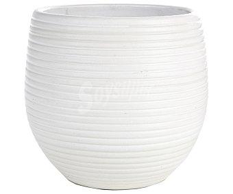VAN Maceta cerámica con efecto ondulado y de color blanco 1 unidad