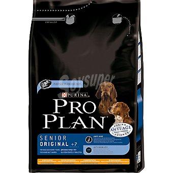 PURINA PRO PLAN SENIOR ORIGINAL Alimento completo para perros ancianos de cualquier raza con pollo y arroz bolsa 3 kg Bolsa 3 kg