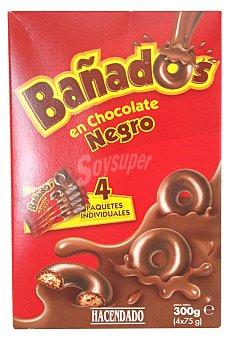 Hacendado Galleta bañados en chocolate negro (forma aros) Paquete 4 u