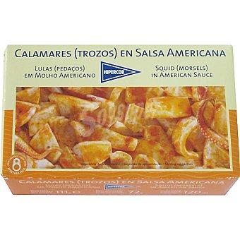 Hipercor Calamares trozos en salsa americana Lata 72 g neto escurrido
