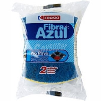 Eroski Estropajo azul no raya con esponja 3u