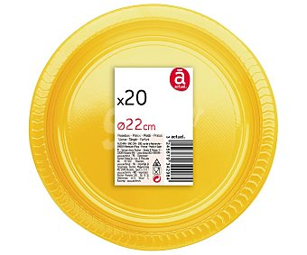 Actuel Platos llanos desechables de 22 centímetros de diámetro color amarillo 20 unidades