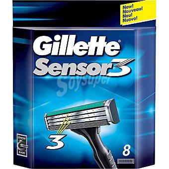 GILLETTE SENSOR 3 Recambio de maquinilla de afeitar estuche 8 unidades Estuche 8 unidades