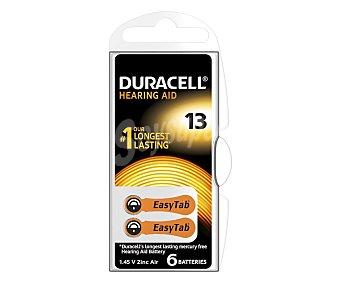Duracell Pilas especiales para audífonos modelo 13, con sistema de apertura fácil y una lengüeta especial que facilita la sustitución de la pila 6 unidades