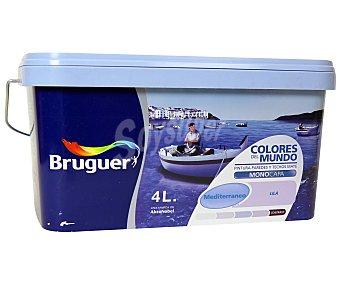 BRUGUER Pintura Plástica Color Lila Mediterráneo, Colores del Mundo 4 Litros