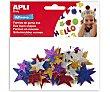 Bolsa de estrellas adhesivas de goma eva con brillantina y de diferentes colores 1 unidad APLI