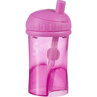 DIFRAX Taza de agua con pajita rosa 1 Unidad