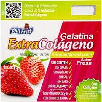 YELLIFRUT Gelatina de fresa colágeno Pack 4x100 g